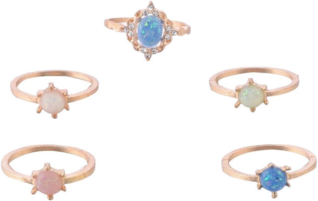 DFVVR Elegante 5 piezas Temperamento azul piedras preciosas nudillos de flores para mujer