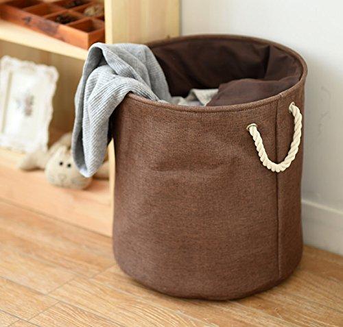 Freitec Laundry Basket,Drawstring Waterproof Round Cotton Linen Collapsible Storage Hamper(Coffee Brown, Large)