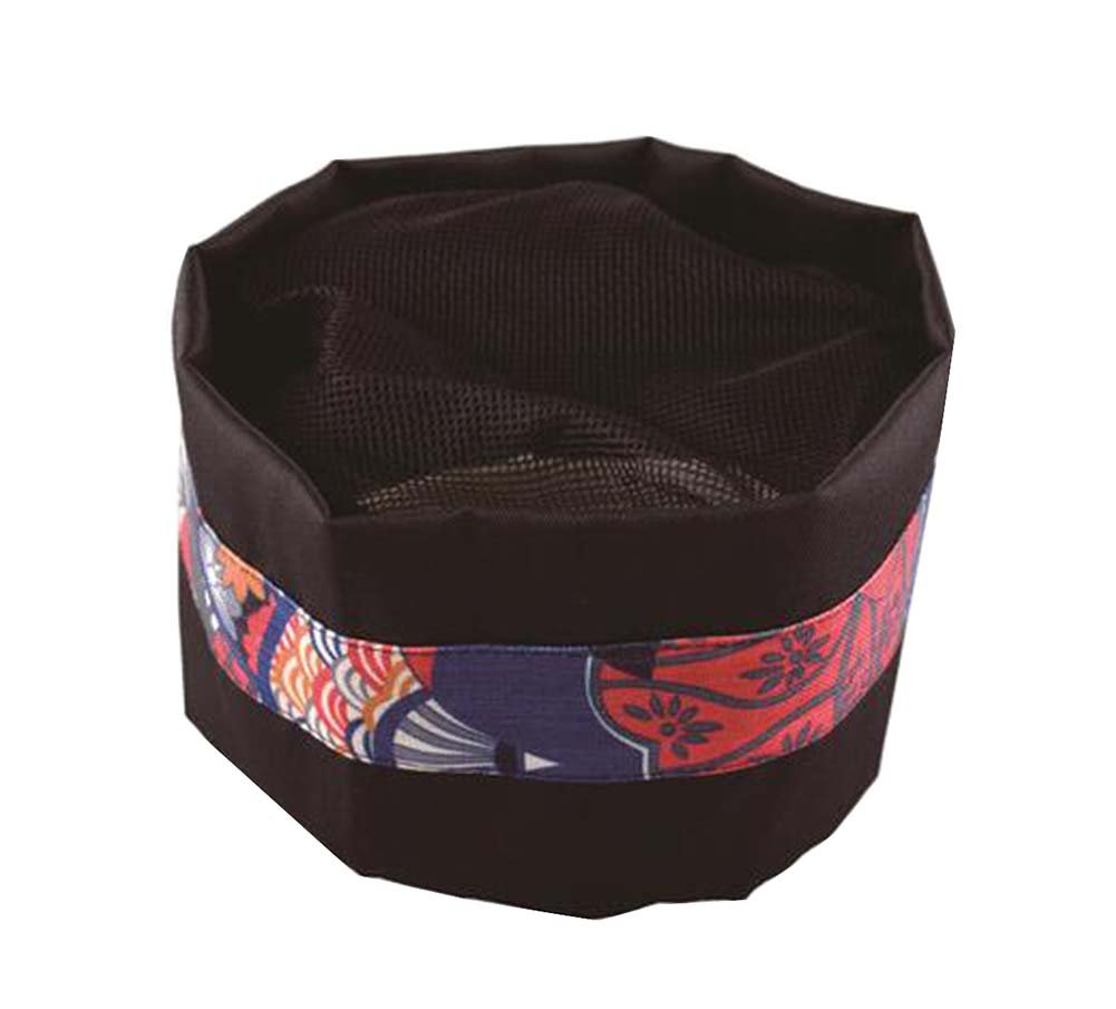Black Temptation Japanese Style Hat Sushi Shop Chef Hat Waiter Hat Kitchen Hat [D]