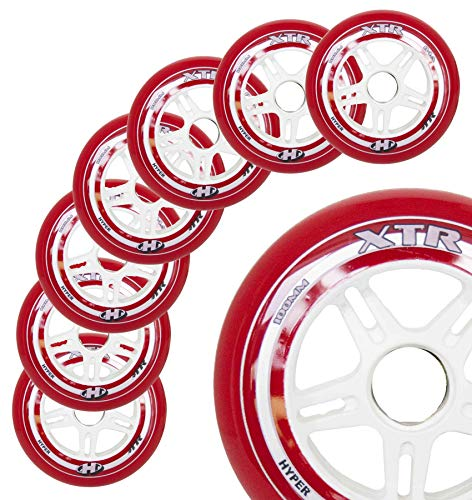 - Inline Skate Wheels Hyper XTR - 8 Wheels - 84A - Sizes: 100MM - Speed Skating, Fitness and Recreational Wheels (RED, 100MM)