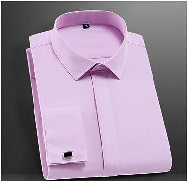 Gemelos franceses de Calidad botón Cubierto Cuello Vuelto Manga Larga Liso Liso Hombres de Negocios Slim fit Camisas de Vestir no planchas-Pink_L: Amazon.es: Ropa y accesorios