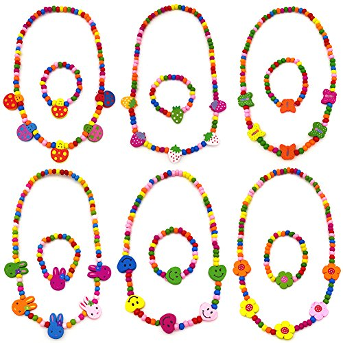 HYSH 6pc Little Girl Party Favor Princess Necklace with Bracelet Popular Jewelry Birthday Gift bag Pretend Play Value Set Wooden beads deal love flowers butterflies (Little Flower Beads)