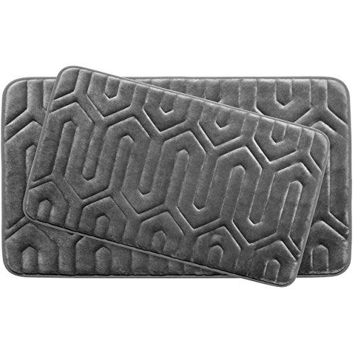 Bounce Comfort Extra Thick Memory Foam Bath Mat Set - Thea Premium Plush 2 Piece Set with BounceComfort Technology, 20 x 32 in. Dark Grey (Memory Foam Bath Mat Set)