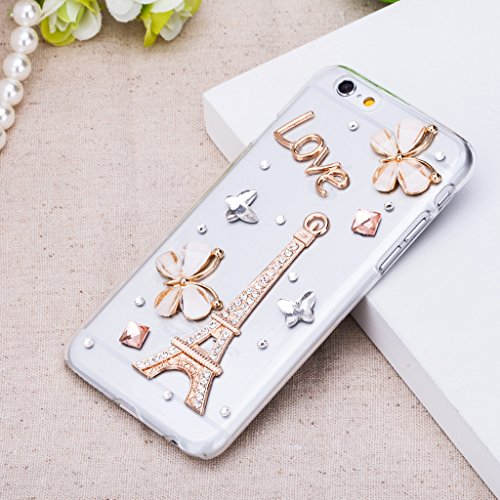 Infinite U Jewellery Rétro Design 3D Brillant Strass Tour Eiffel Phone Case/Coque/Etui/Housse de Protection pour iphone 6/iphone 6s (4.7 Pouces)