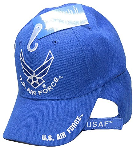 Set of 2 U.S. Air Force Wings Royal Blue with US Air Force on Bill Shadow Embroidered Cap USAF