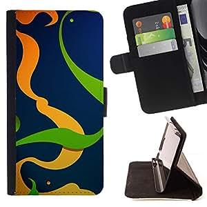 For Apple Apple iPhone 4 / iPhone 4S Case , Naranja Verde Líneas del extracto del remolino Limpio- la tarjeta de Crédito Slots PU Funda de cuero Monedero caso cubierta de piel