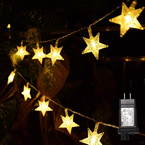 MYGOTO Warm White Star String Lights,32feet 100LED Decorative Fairy String Lights with 8 Modes Plug in Xmas Lights with 30V Safe Voltage (100 LED Star, Warm White) (Electric Light Star)