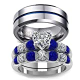 LOVERSRING Couple Ring Bridal Set His Hers White Gold Filled Stainless Steel 10k Wedding Ring Band Set