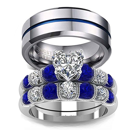 LOVERSRING His and Hers Wedding Ring Sets Couples Rings 10K White Gold Filled Heart cz Wedding Engagement Ring Bridal Sets Men's Tungsten Carbide Wedding Band
