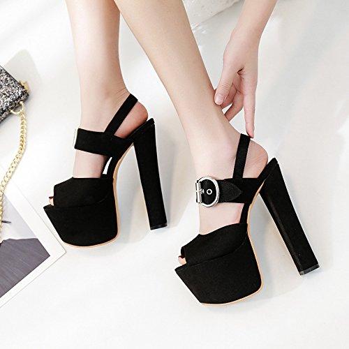 altos modelo de nuevo Verano tacones cm 17 sandalias zapatos noche negro de cruzado XiaoGao xzIqHPx