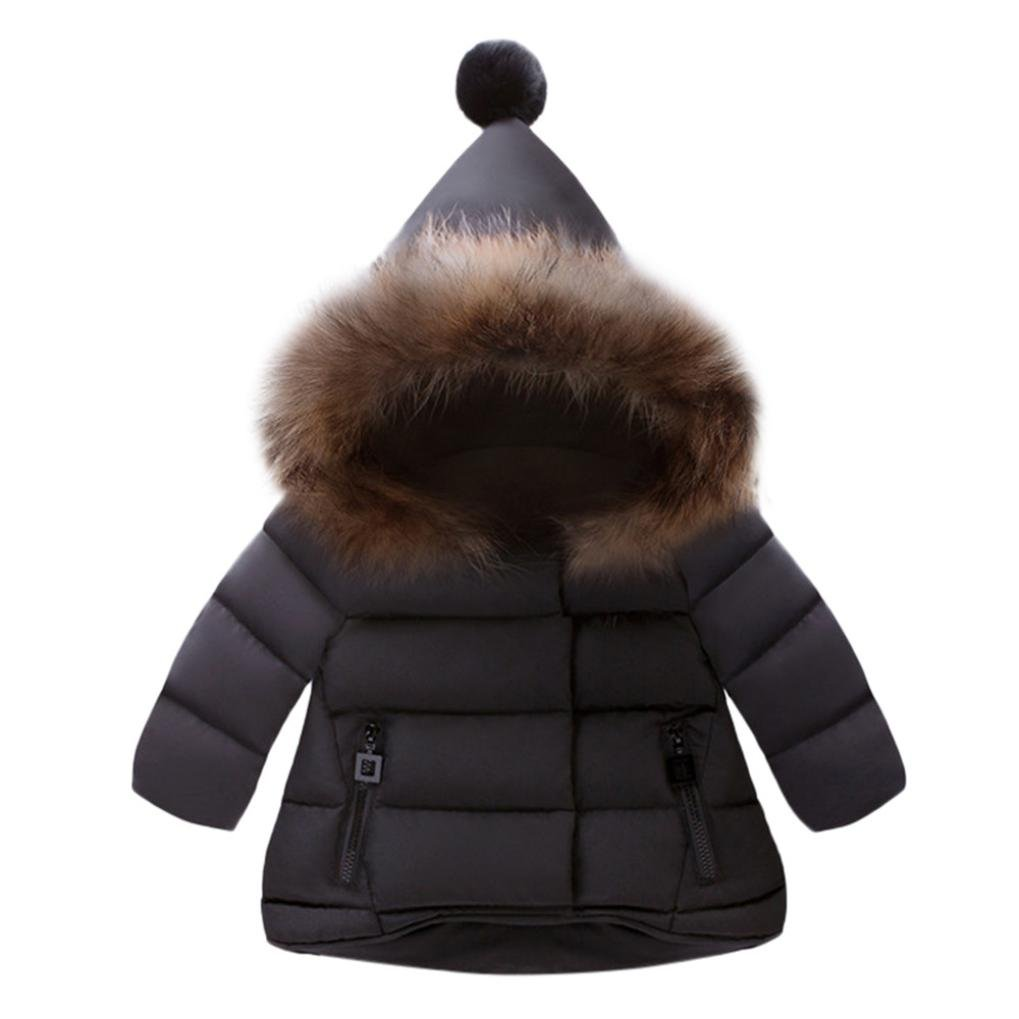 ZLOLIA Baby Clothes Autumn Winter Girls Boys Kids Down Jacket Warm Hoodie Solid Coat (110, Black)