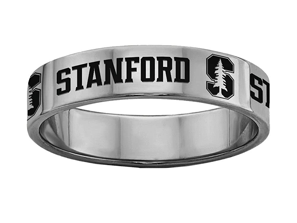 Stanford University Cardinals Ring Stainless Steel 8MM Wide Band Size 6.5
