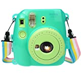 Alohallo Instax Mini 9/ Mini 8/ Mini 8+ Transparent Case with Camera Shoulder Strap and Cleaning Cloth - Transparent (Blue 1)