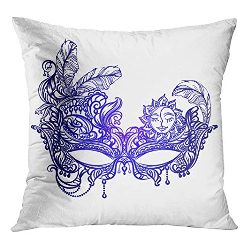 Semtomn Throw Pillow Cover Face Masks in The of Boho Chic Festival Mardi with Hidden Zipper Decorative Home for Sofa 16