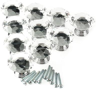 HOSL 10PCS 40MM Diamond Shape Crystal Glass Cabinet Knob Cupboard Drawer Pull Ha