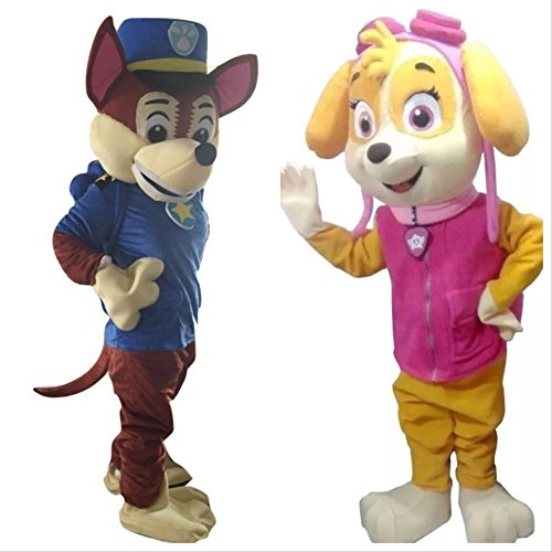 Girls Deluxe Skye Costumes (Lilgee Paw Patrol Chase and Skye Dogs Adult Mascot Costume for Halloween Birthday Party Event Boy Girl Baby Adult Size L)