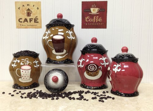 Tuscany Hand Painted Fleur De Lis Coffee Design, Canister Set of 4, 85101/5JJHG by ACK