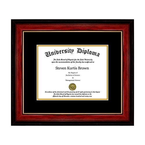Perfect Cases Single Diploma Frame with Double Matting for 8.5