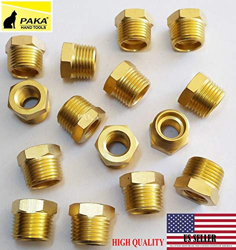 PAKA TOOLSBrass Threaded Pipe Fitting, Hex Bushing reducer, 1/2