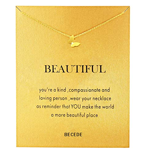 BECEDE Card Necklace Palm Hexagram Lotus Ring Pearl Pendant Chain Necklace with Meaning Card (Butterfly)
