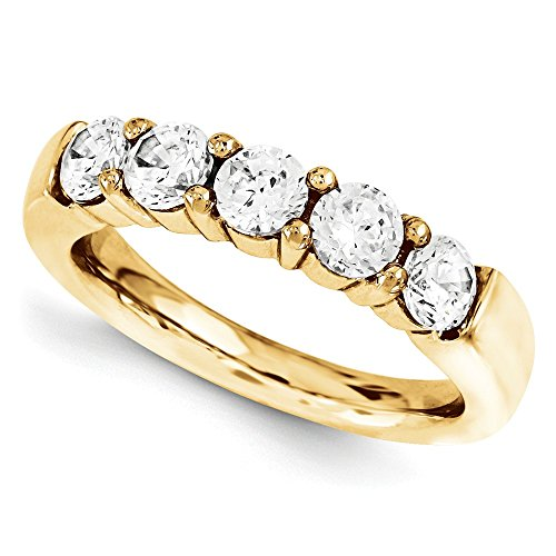 1/3 CT 14k Yellow Gold Round 5 Stone Diamond Band 0.295 (Round Five Stone Diamond Band)