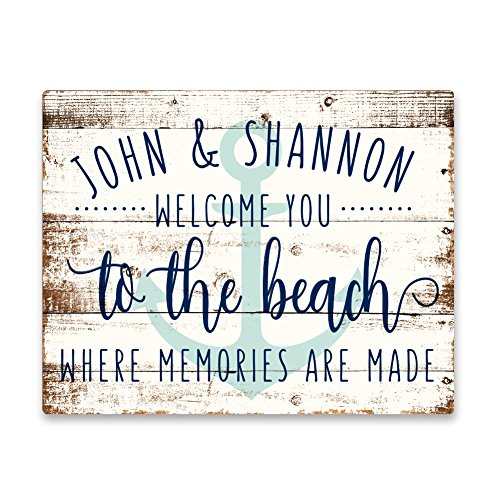 Pattern Pop Personalized Welcome to The Beach Aluminum Metal Wall Art