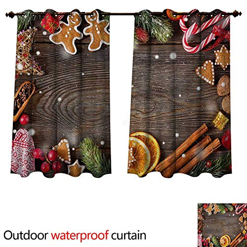 - WilliamsDecor Gingerbread Man Outdoor Curtains for Patio Sheer Festive Christmas Frame with Spices Biscuits Elements on Table Art Print W84 x L72(214cm x 183cm)