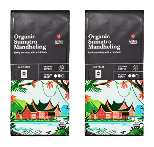 Archer Farms Organic Sumatra Mandheling Ground Coffee - Pack of 2 Bags - 10 oz Each - Medium Roast (Organic Sumatra Mandheling, 2 Bags Total) ()