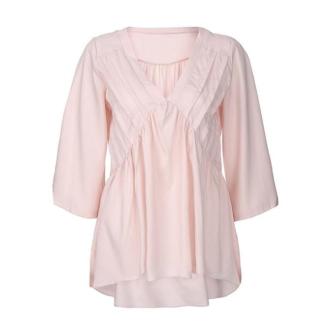 PAOLIAN Blusa de Mujer Baratas Volantes Manga Largas Otoño 2018 Blusa Escote V Ropa para Mujer Blusa Sólido Ancho Basicas Elegante Camisa Casual Camisetas ...