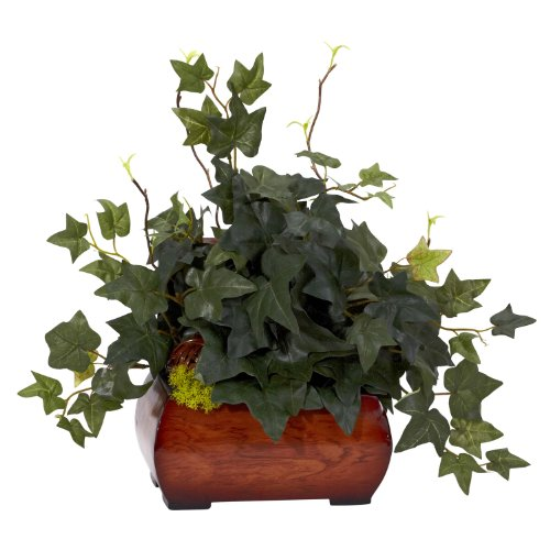 (Nearly Natural 6683 Puff Ivy with Chest Decorative Silk Plant, Green)