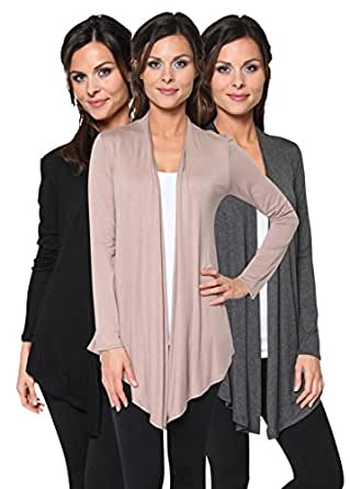 Free to Live Women's 3 Pack Light Weight Open Front Cardigans (Black, Charcoal, Mocha),Small