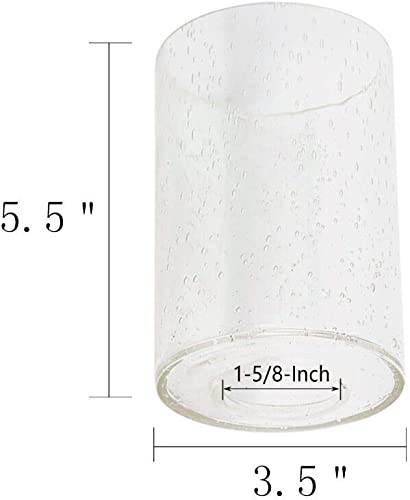 Eumyviv Seeded Glass Shade Cylinder Glass Lamp Shade Replacement Glass Pieces with 1-5 8-Inch Fitter Opening 2-Pack A00004