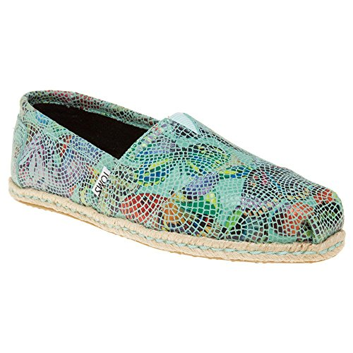 TOMS Women's Leather Classics Blue Leather Printed Mosaic Loafer