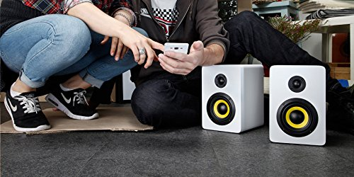 Thonet and Vander Vertrag BT Bluetooth Bookshelf Speakers (180 Peak Watts) Compact 2.0 Studio Monitors - Enhanced Bass Speaker System - Works with iOS/Android/MacOS/Windows (German Engineered) White by Thonet and Vander (Image #2)