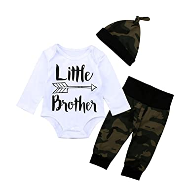 fdf569c04288 Amazon.com  KIDSA Newborn Baby Boy Little Brother Long Sleeve White ...