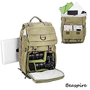 Beaspire 14-inch Laptop Camera Backpack Professional Hiking and Travel Bag with Dividers Laptop Compatible with DSLR Sony Canon Nikon Olympus Cameras Lens and Accessories fit Men and Women(Khaki)