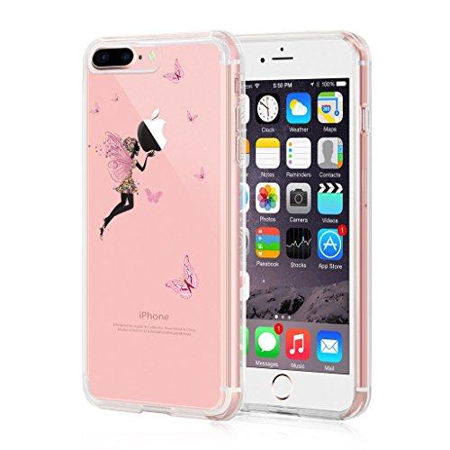 iPhone 7 Plus Cover, IJIA Ultradünne Transparente Rosa Schmetterlings Blumen Mädchen TPU Weich Silikon Stoßkasten Hülle Handyhülle Schutzhülle Handyhüllen Schale Case Tasche für Apple iPhone 7 Plus (5