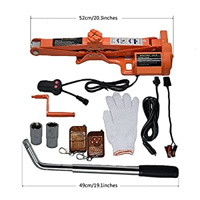 Sywwlov 12 V DC 3.0 Ton (6600lb) Fully Automatic Electric Scissor Car Jack with Wheel Nut Wrench Repair Tire Change Kit