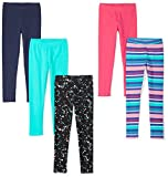 Spotted Zebra Little Girls' 5-Pack Leggings, Starburst Small (6-7)