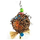 SODIAL Large Bird Chewing Toys for Parrots Natural Rattan Ball Cage Toy Preening Toy for Bird Parrot African Greys Budgie Cockatiel Parakeet Lovebird Cage Toy