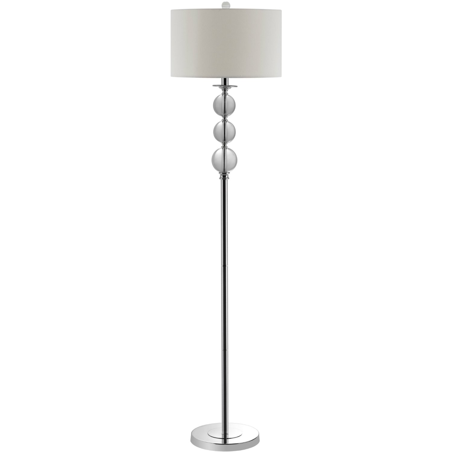 62-Inch Simple & Modern Floor Lamp with Off White Drum Shade & Glass Spheres Design Stand For Living Room