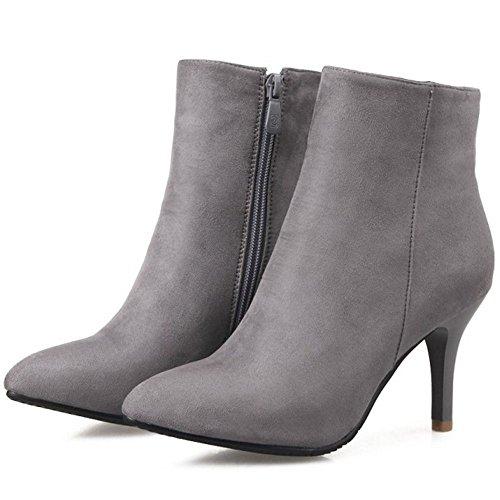 RAZAMAZA Alto Elegante con Tacco Zipper Donna Stivaletti Grey Stivali RAFR6qw