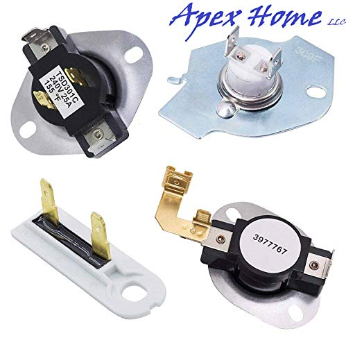 3387134 High-Limit Thermostat 3392519 Dryer Thermal Fuse 3977393 Thermal Cut-off Switch 3977767 Cycling Thermostat by APEX Replaces 3399693 WP3977767VP PS345113 AP6008325 WP3977393 ()