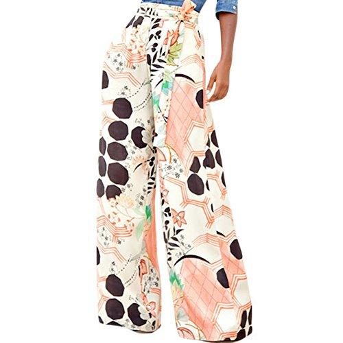 LOSRLY Women Floral Print High Waist Belt Palazzo Wide Leg Boho Pants Plus Size-Orange L 12 14