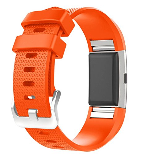 For Fitbit Charge 2 Bands, FreshZone Accessories Replacement Silicone Watch Band Wristband for Fitbit Charge 2 (No Tracker) (Orange)