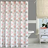 oremila Bathroom Shower Curtain Seashell Starfish Multi-colored Shower Curtains Fabric Bathroom Curtain Durable Water Repellent Bath Curtain 1pc (72' Shower Curtain, Coral)