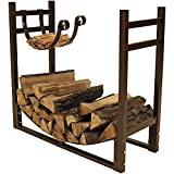 Sunnydaze Firewood Rack with Kindling Holder - Indoor or Outdoor Fireplace Log Rack Firewood Holder for Wood Storage - 33 Inch Wide x 30 Inch Tall, Bronze
