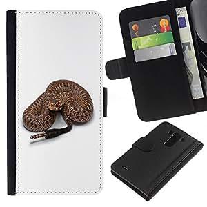A-type (Divertido Rattle serpiente altavoz Plug) Colorida Impresión Funda Cuero Monedero Caja Bolsa Cubierta Caja Piel Card Slots Para LG G3