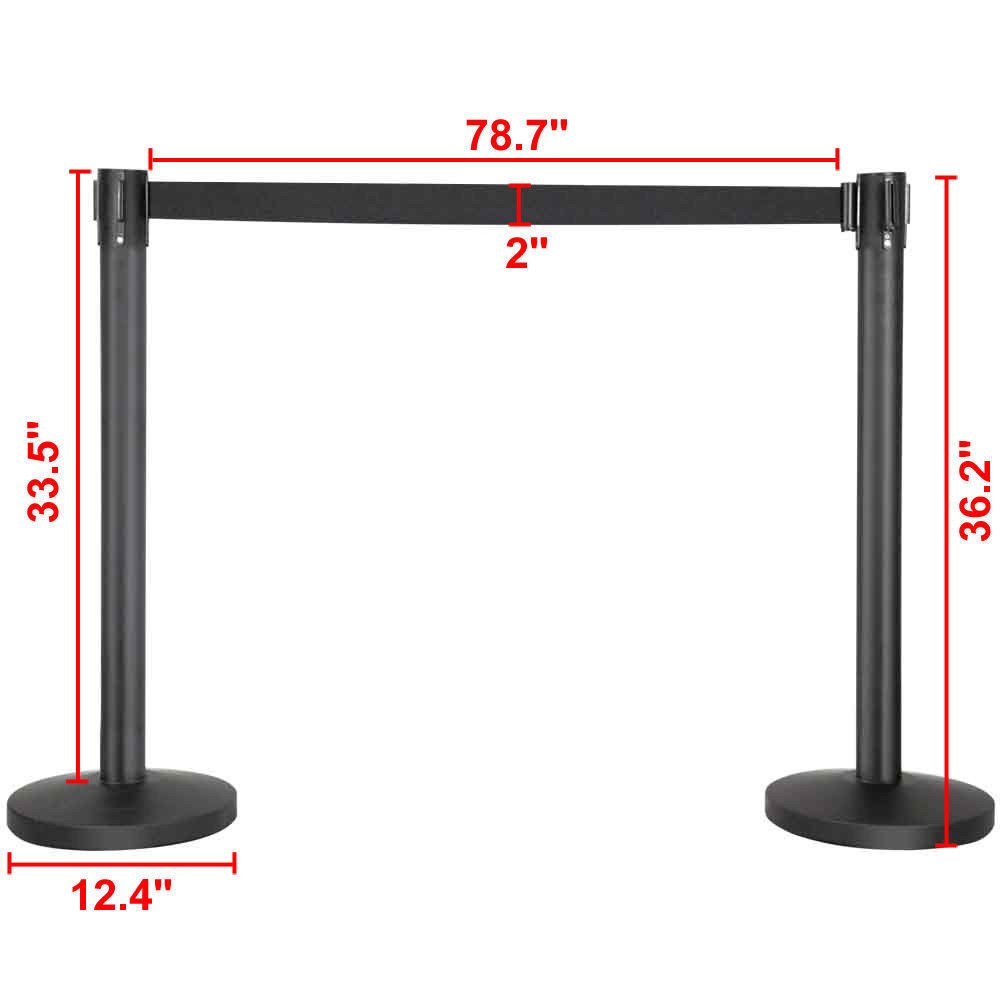 6 pcs New Retractable Stanchions Crowd Control Black Belt Posts Queue Barrier
