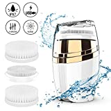 Facial Cleansing Brush,COOFO Sonic Waterproof Rechargeable Face Clenser System 3 Modes with 2 Brush Heads for Face Cleaning USB Charger 2 Minute Auto Shut Off